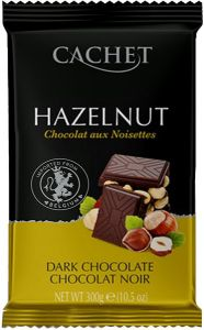 """Шоколад """"Cachet"""" Dark Chocolate with Hazelnut, 54% Cocoa, 300 г"""