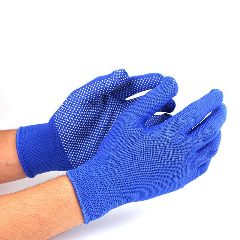 Нейлоновые перчатки с ПВХ точками, 12 пар, цвет синий