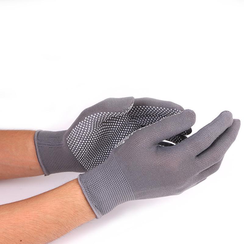 Нейлоновые перчатки с ПВХ точками, 12 пар, цвет серый