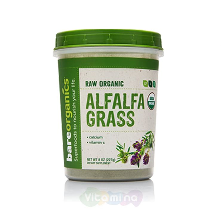 BareOrganics Порошок Люцерны Alfalfa Grass Powder (Raw - Organic)