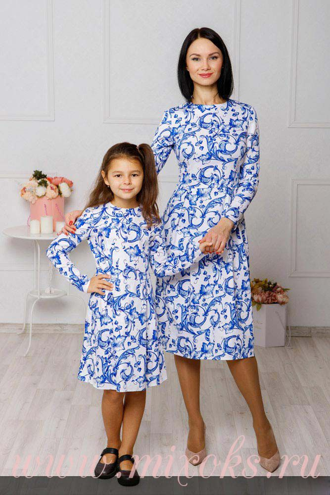 Платья Гжель для мамы и дочки