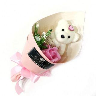 Букет из парфюмированного мыла в виде розы с игрушкой Best Wishes, 25 см, Светло-розовый