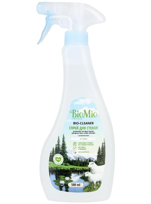 BioMio Bio-Glass Cleaner Экологичное чистящее средство для стекол, зеркал и пластика с экстрактом хлопка без запаха 500 мл с распылителем