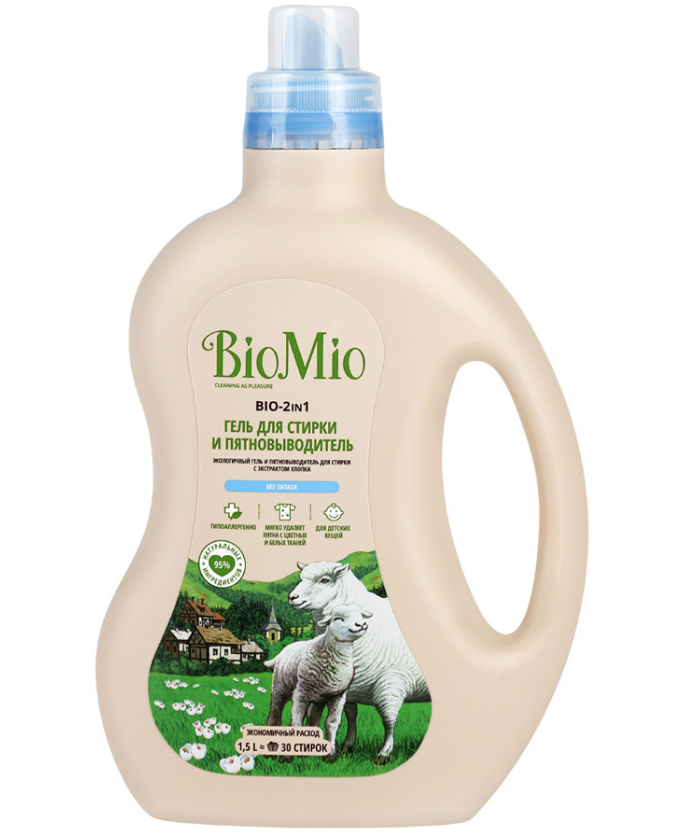 BioMio Bio-2 In 1 Экологичный гель для стирки и пятновыводитель без запаха 1,5 л