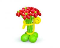 Букет из шаров Ромашки красные со смайликом 7 шт