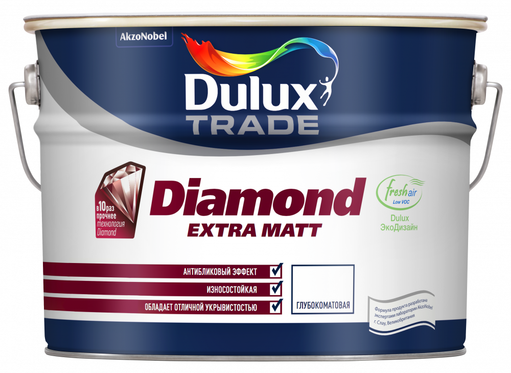 Dulux Diamond Extra Matt глубоко матовая краска износостойкая для стен