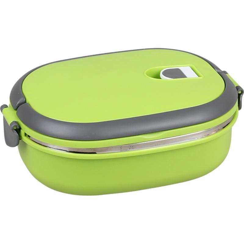 Овальный термо ланч-бокс с защёлками Lunch Box, 900 мл, зеленый