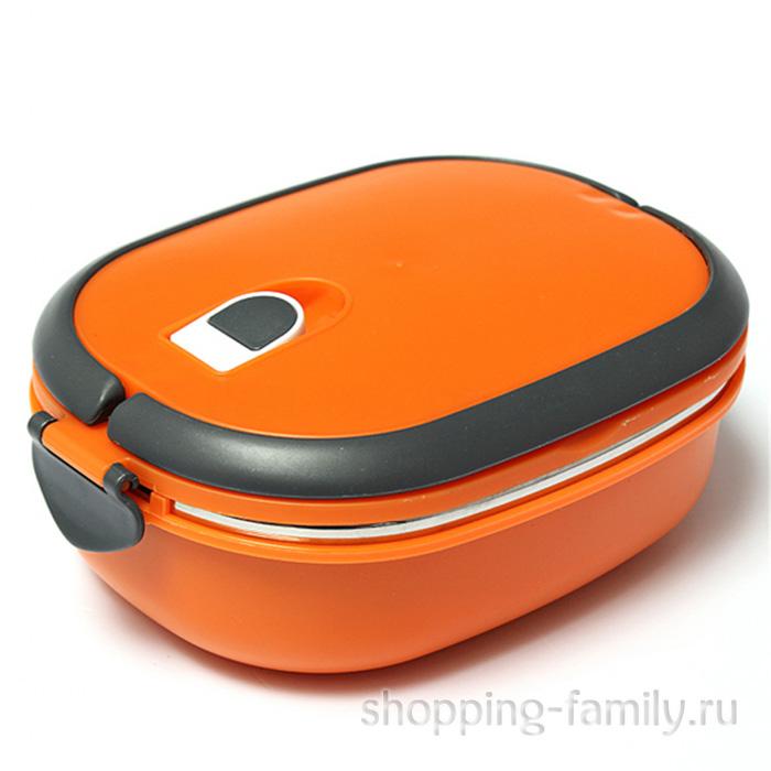 Овальный термо ланч-бокс с защёлками Lunch Box, 900 мл, оранжевый