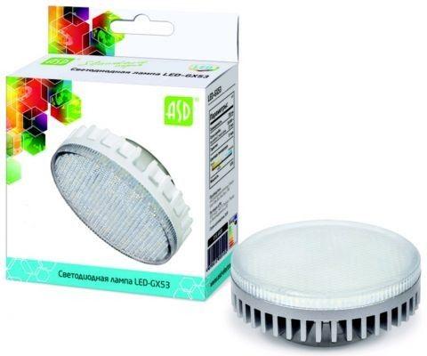 Светодиодная лампа ASD GX53 св/д 8W 4000K 4K 74x29 рифл. стекло пластик standard 5102