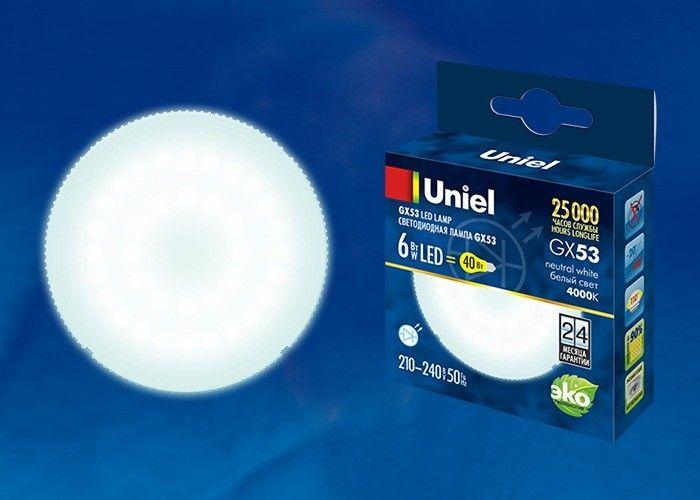 Светодиодная лампа Uniel GX53 св/д 6W(470lm) 4000K 4K матовая 75x28 LED-GX53-6W/NW/GX53/FR PLZ01WH