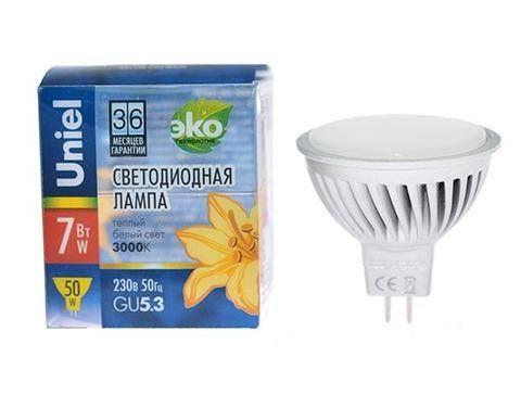 Светодиодная лампа Uniel MR16 GU5.3 220V 5W 2700 матовая  LED-JCDR-5W/WW/GU5.3/FR ALS01SL