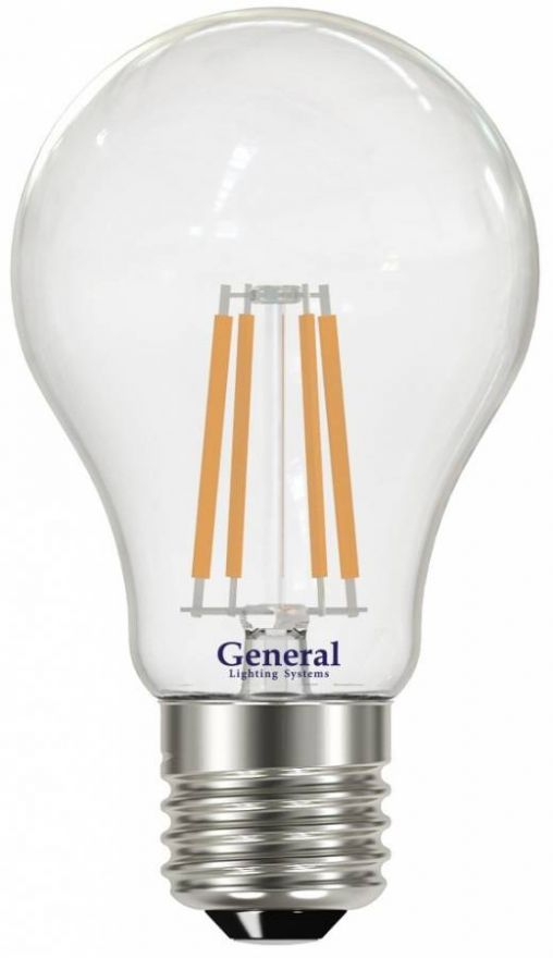 Светодиодная лампа General ЛОН A60 E27 10W(920lm) 4500K 4K 60x105 филамент (нитевидная) прозр. 645800