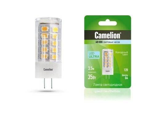 Светодиодная лампа Camelion BP G4 12V 3.5W(370lm 330°) 4500K 4K прозр. 46x16 пластик (блистер) LED3.5-JC/845/G4
