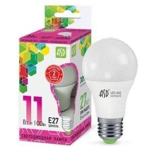 Светодиодная лампа ASD ЛОН A60 E27 11W 6500К 6К 110х60 пластик/алюм standard  4197