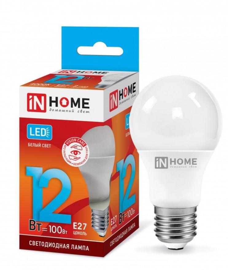 Светодиодная лампа ASD(inHOME) VC ЛОН A60 Е27 12W(1080lm) 4000К 4K 0242