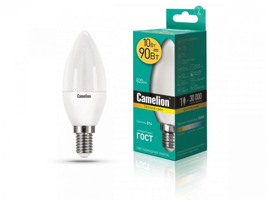 Светодиодная лампа Camelion Свеча E14 10W(820lm 220°) 3000K 2K матов. 107x38 LED10-C35/830/E14
