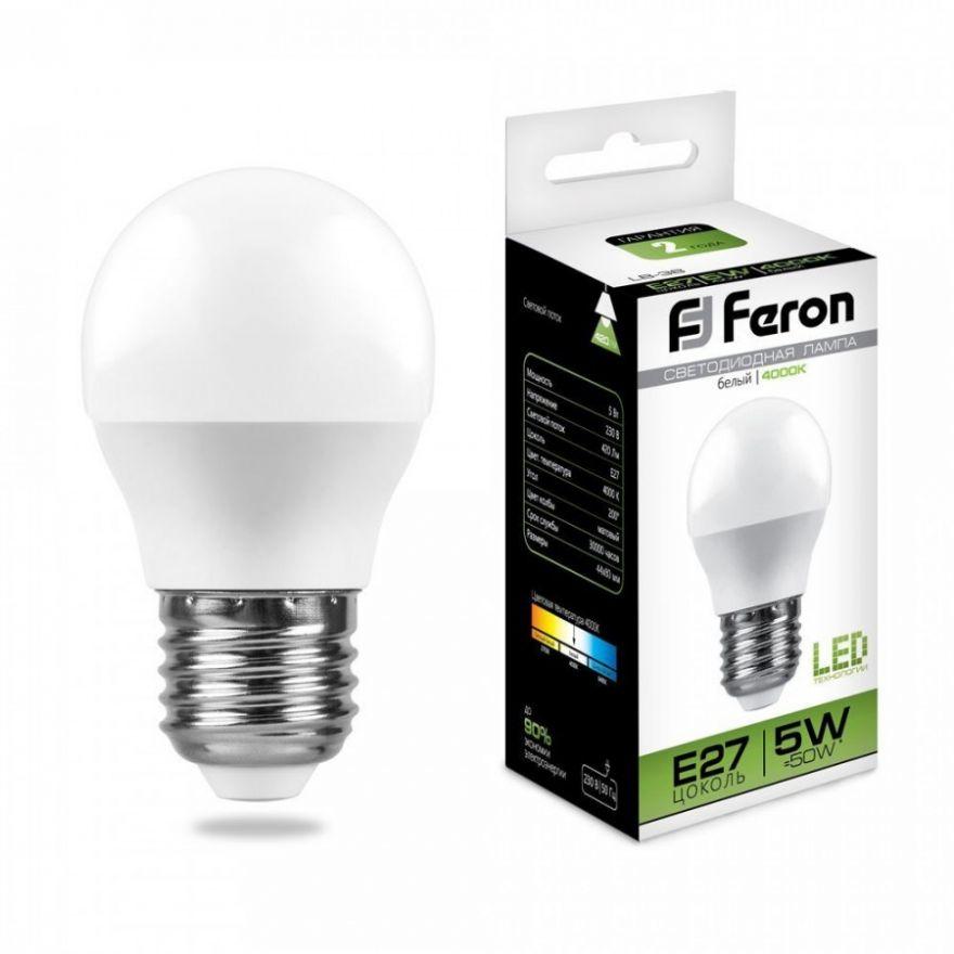 Светодиодная лампа Feron шар G45 E27 5W(420lm 270°) 4000K 4K матовая 82x45, LB-38 25405