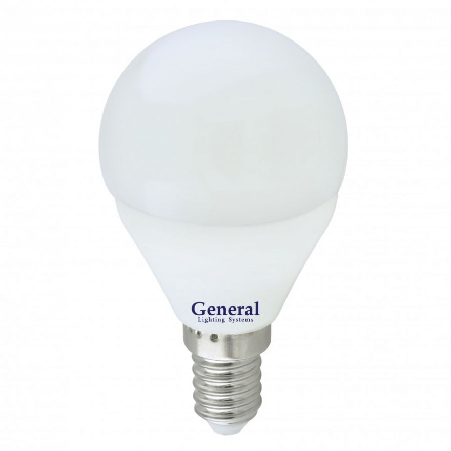 Светодиодная лампа General шар P45 E14 10W 4500K 4K 45х80 пластик/алюм GLDEN-G45F-10-230-E14-4500, 683400