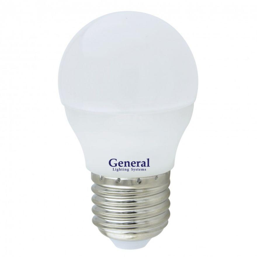 Светодиодная лампа General шар P45 E27 10W 4500K 4K 45х80 пластик/алюм GLDEN-G45F-10-230-E27-4500, 683700