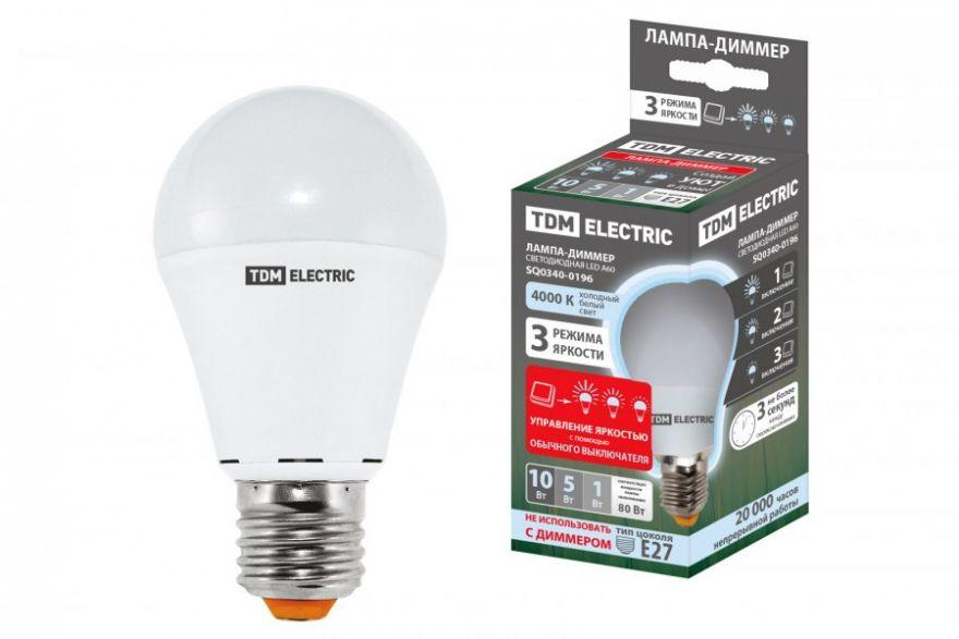Светодиодная лампа TDM лампа А60 - 10 Вт-230 В -4000 К–E27 ''Лампа-ДИММЕР'' SQ0340-0196