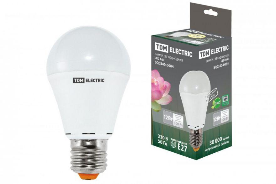 Светодиодная лампа TDM ЛОН A60 E27 12W(1000lm) 3000K 2K 60x107 (10!) SQ0340-0084