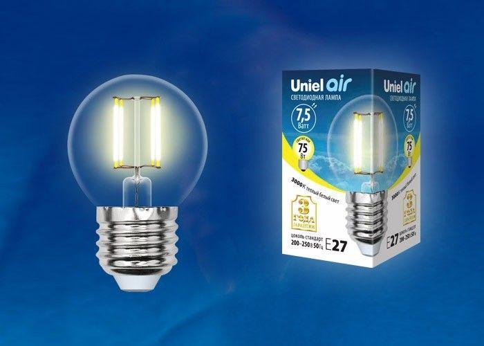 Светодиодная лампа Uniel Air шар G45 E27 7.5W(745lm 360°) 3000K 45x70 филамент прозр LED-G45-7,5W/WW/E27/CL