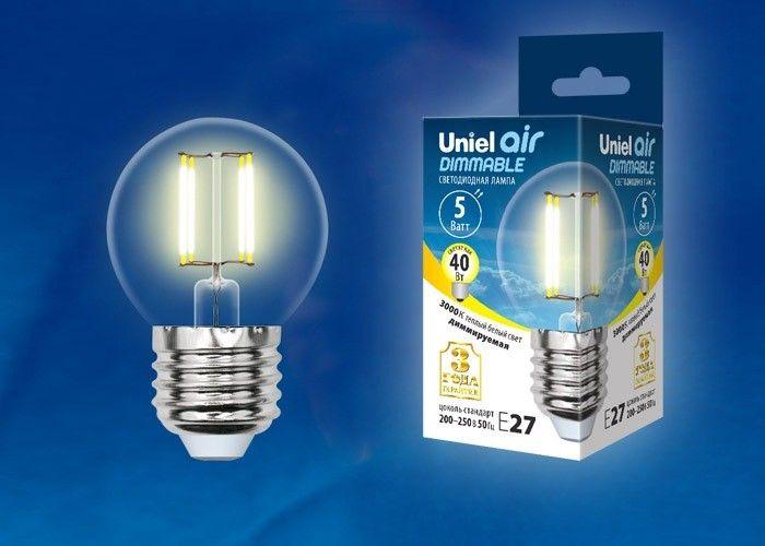Светодиодная лампа Uniel Air шар диммир. E27 5W(450lm 360°) 3000K филамент прозр 45x78 LED-G45-5W/WW/E27/CL/DIM