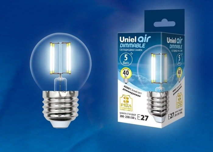 Светодиодная лампа Uniel Air шар диммир. E27 5W(450lm 360°) 4000K филамент прозр 45x78 LED-G45-5W/NW/E27/CL/DIM