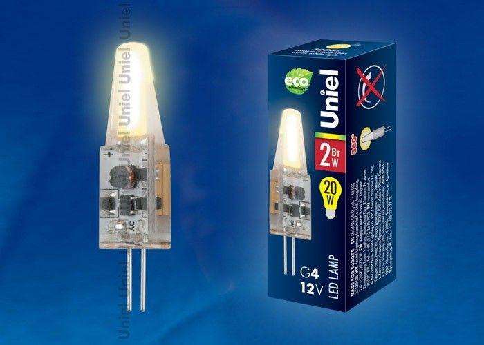 Светодиодная лампа Uniel G4 12V 2W(150lm) 3000K 2K 10x38 силикон LED-JC-12/2W/WW/G4/CL SIZ05TR