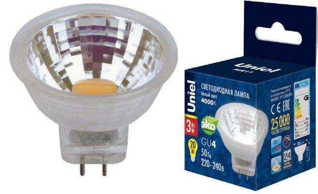 Светодиодная лампа Uniel G4 MR11 220V 3W(200lm 110°) 4000K 4K пластик 35x35 без стекла LED-MR11-3W/NW/GU4/220V GLZ21TR