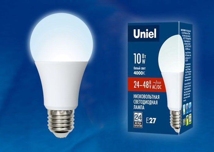 Светодиодная лампа Uniel ЛОН низковольтная A60 E27 24-48V AC/DC 10W(850lm) 4000К 4K 110x60 LED-A60-10W/NW/E27/FR/24-48V