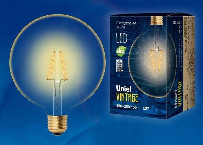 Светодиодная лампа Uniel Шар G125 E27 8W(680lm) 2250K филамент золотист. Vintage 125x175 LED-G125-8W/GOLDEN/E27