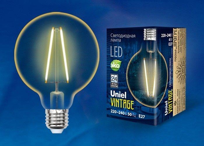 Светодиодная лампа Uniel Шар G95 E27 4W(400lm) 2250K филамент (нитевидн) золотист. Vintage 96x136 LED-G95-4W/GOLDEN/E27