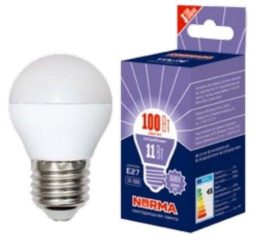 Светодиодная лампа Volpe NORMA шар G45 E27 11W(900lm) 3000K 2K матовая 45x78 LED-G45-11W/WW/E27/FR/NR