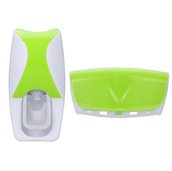Автоматический Дозатор Зубной Пасты + Держатель Для Щёток, Цвет Зеленый