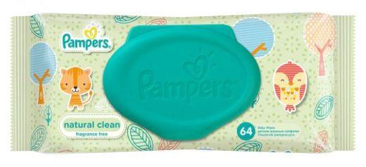 Салфетки Pampers Baby Natural Clean влажные, 64шт