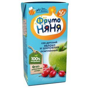 Сок ФрутоНяня из яблок и шиповника для детей с 5 месяцев, 0,2л