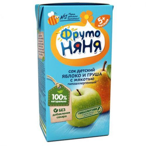 Сок ФрутоНяня яблоко и груша с мякотью без сахара с 5 месяцев, 0,2л