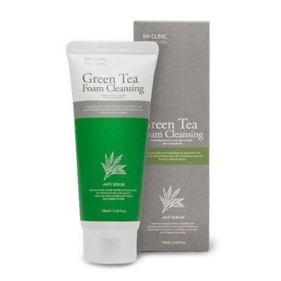 3W Clinic Green Tea Foam Cleansing ANTI SEBUM Пенка для умывания с зеленым чаем, Антижир