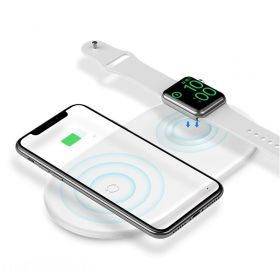 Беспроводная зарядка для телефона и Apple Watch быстрая Baseus Smart 2in1 - Белая (WX2IN1-02)