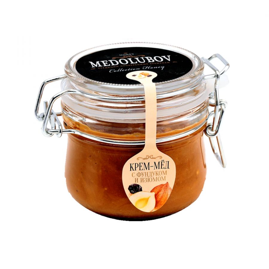 Крем-мёд Medolubov фундук изюм 250мл бугель